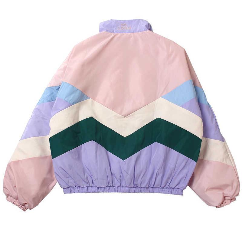 Flectit mujeres Pastel bombardero chaqueta lindo bordado Color bloque Duster recuerdo Sukajan chaqueta japonés chicas estilo Harajuku *