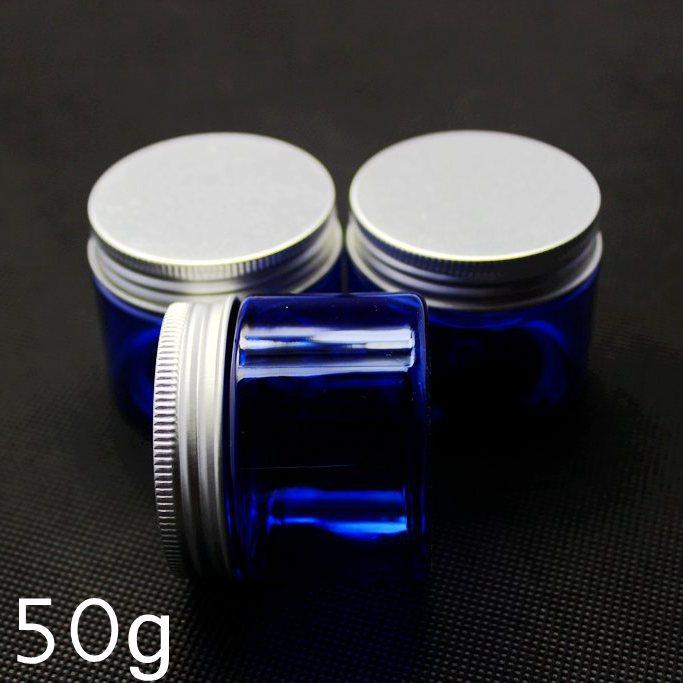 50PCS 50G Empty Blue Pet cream jar,50g Cream bottle with aluminum cap , 50g plastic blue cosmetic container packaging