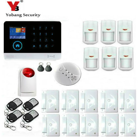 YoBang Security Wireless WiFi GSM Home Security System Cell Phone Wireless Alarm Smoke Detector Door Sensor Support IOS Android.