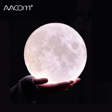 Novelty 3D Print Moon Lamp Night Light 2 Colors Touch Control Indoor Home Decor Bedroom Bookcase Children Kids Chirstmas Gifts