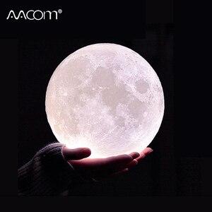 Image 1 - Nowość lampa wydruk 3D księżyc lampka nocna 2 kolory sterowanie dotykowe kryty Home Decor sypialnia regał dzieci dzieci prezenty Chirstmas