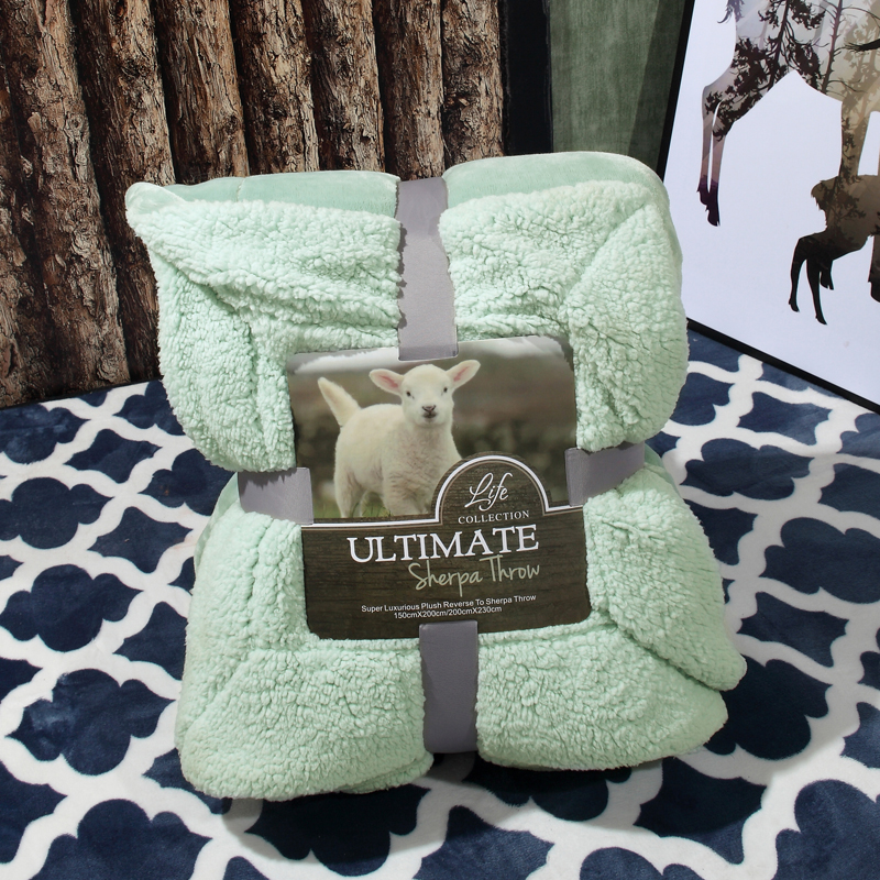 Blanket warm soft fleece green solid blankets double queen layer throw on Sofa Bed Plane Plaids Solid Bedspreads Home textile cotton lamb fleece blanket 115 115cm 100% cashmere double face blankets nordic style