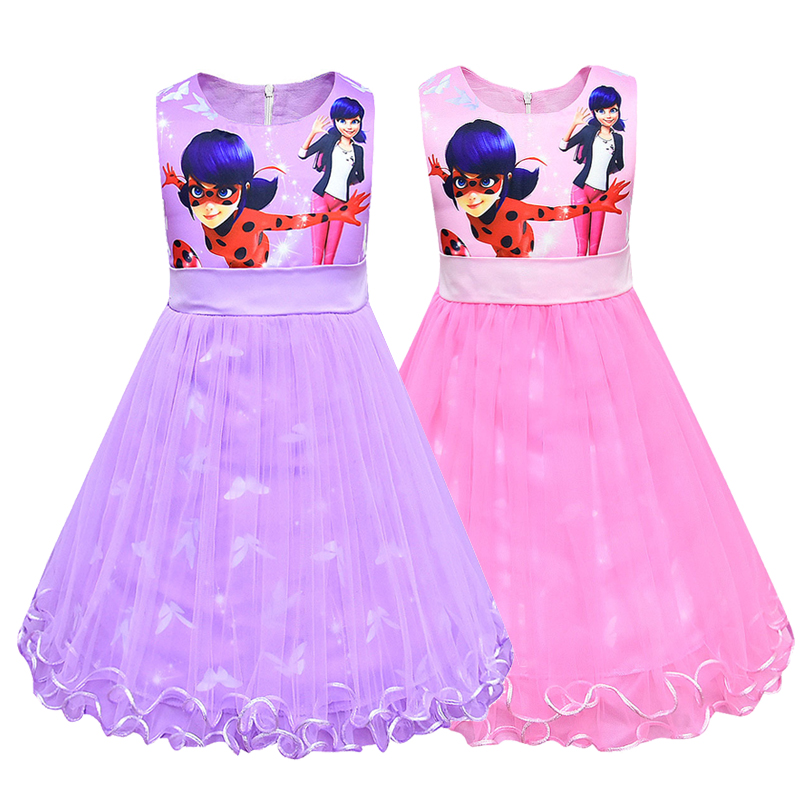 Ladybug Cosplay Costume Girl Lovely Princess Dress Christmas Fancy Party Dress Up Costume Kids Lady Bug Cosplay Marinette Dress