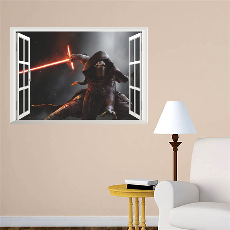 Fake 3d Window Darth Vader Star War Figure Wall Stickers For Kids
