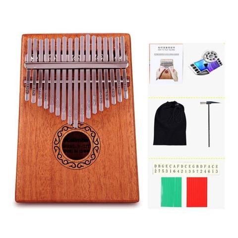 madeira 17 teclas dedo polegar bolso piano kalimba mbira polegar piano educacao brinquedo instrumento musical