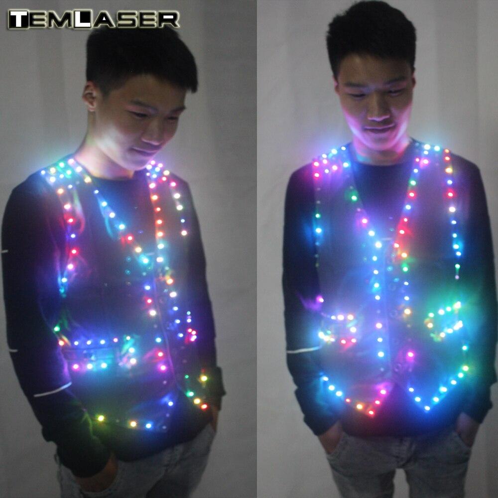 Colorido Led luminoso Chaleco de salón de baile traje chaqueta DJ cantante bailarín ropa de escenario camarero