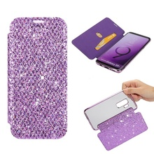 Bling Leather Wallet Flip Phone Case For Samsung Galaxy s8 s9 Plus Clear Soft Back Cover For Samsung Note 8 S7 Edge Cases Coque