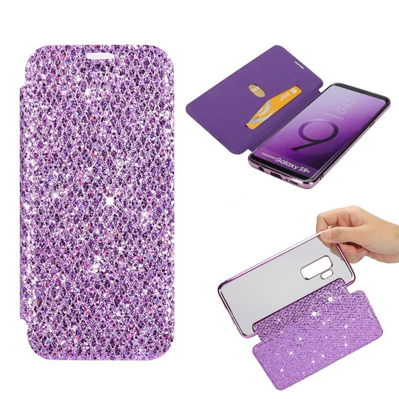 Bling <font><b>Leather</b></font> Wallet Flip Phone <font><b>Case</b></font> For Samsung <font><b>Galaxy</b></font> s8 <font><b>s9</b></font> Plus Clear Soft Back Cover For Samsung Note 8 S7 Edge <font><b>Cases</b></font> Coque image