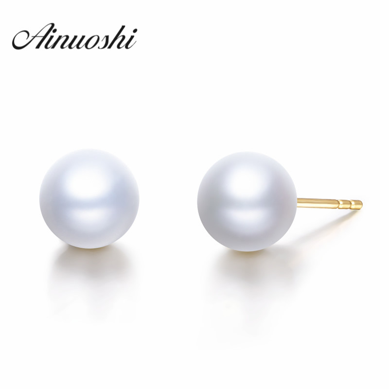 AINUOSHI 18K Yellow Gold Natural Cultured Freshwater Pearl Brand Female Charming Earrings for Wedding Pearl Stud Earrings Bijoux