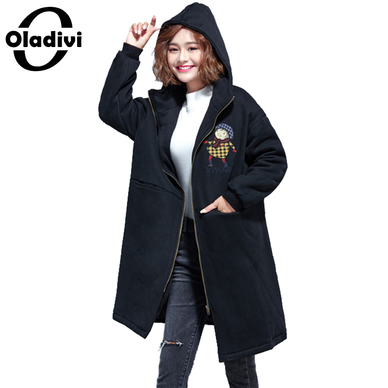 Oladivi Plus Size Women Coat Winter Cotton Padded Jacket Female Fashion Print Warm Zipper Coats Ladies Outerwear Tops Overcoats