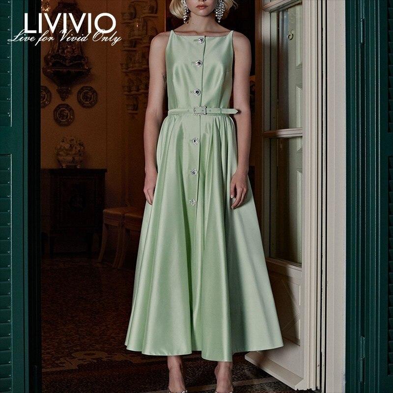 LIVIVIO Elegant Sleeveless Women Dress Off Shoulder High Waist Diamond Button Midi Dresses Female Fashion