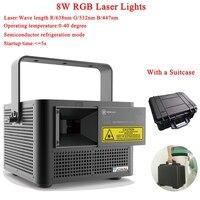 Высокая Мощность Профессиональный DJ оборудование 8 Вт RGB лазерной анимации света этапа Для Дискотека DJ крючок для рождественской вечеринки