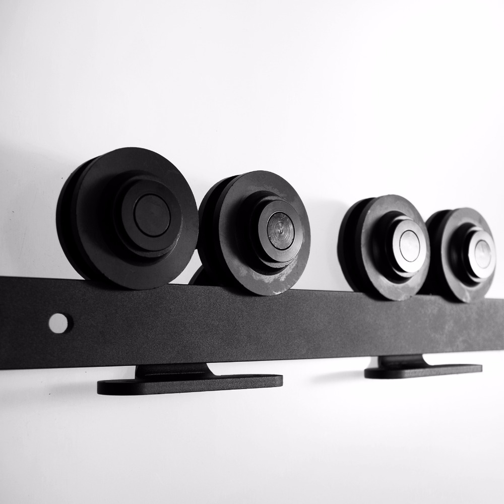 LWZH Black T-Shaped with Two Rollers Sliding Wood Door Hardware Kit Carton Steel Track Antique Style for Interior Sliding Door