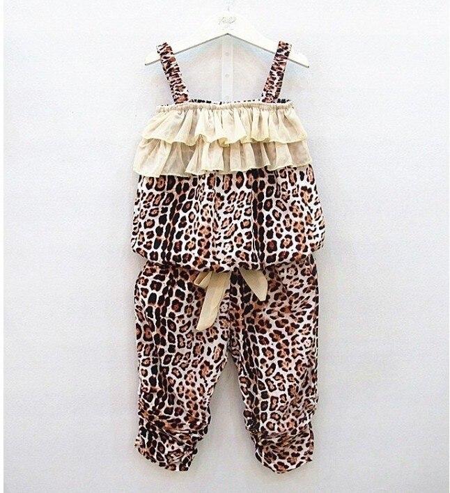 Summer Baby Girls Clothes Sets Fashion Chiffon Leopard Print Sleeveless Tops Vest + Pants 2pcs Clothing Set Kids Girl Suit