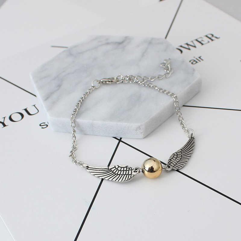 2019 nowa biżuteria w stylu Vintage Retro Tone złoty znicz kieszonkowe skrzydła bransoletka dla mężczyzn i kobiet sztuczna bransoletka perłowa jn516
