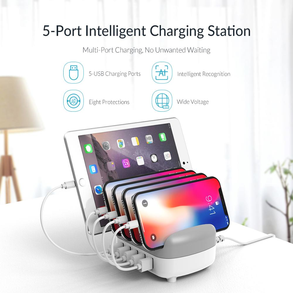 ORICO USB Charger 5 Ports USB Docking Station with Holder USB Charging for Smart Phone Tablet