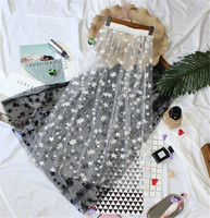 WEIKADUN Summer Women Lace Skirts Fashion Casual Elegant Mesh Skirt Stars Overlay Midi A Line Black