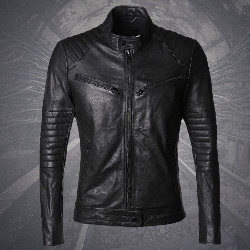 Italie Design de Haute Qualité en peau de Mouton Véritable Cuir Hommes Punk Vestes Col montant Slim Fit Rock Moto Biker Outwear Manteau