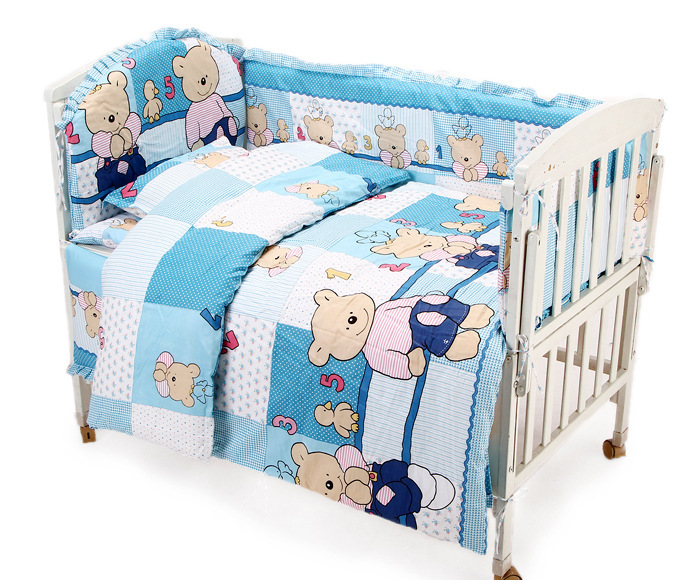 Promotion! 6PCS Bear Crib Bedding Sets cot bumper+fitted cover baby girls' cotton cartoon (bumper+sheet+pillow cover) простынь swaddledesigns fitted crib sheet turquoise stripe