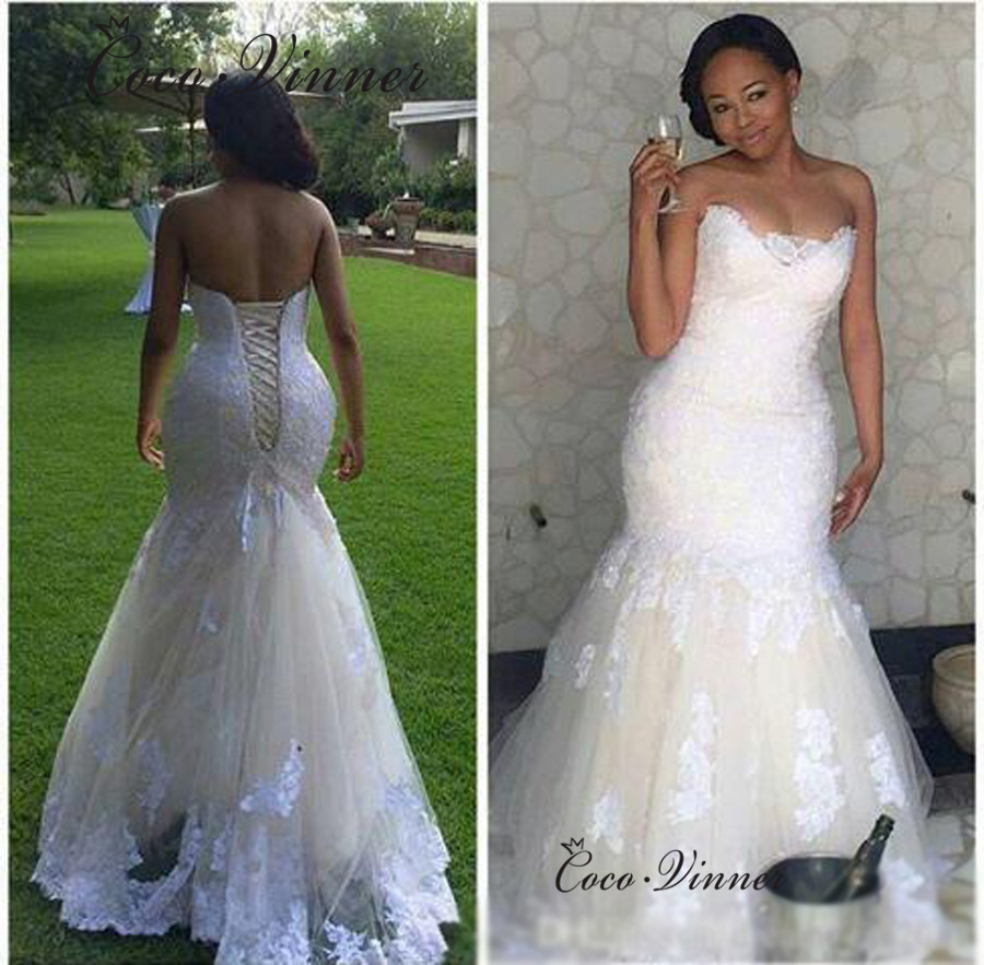 Champagne Color Custom Made Mermaid Wedding Dresses 2019