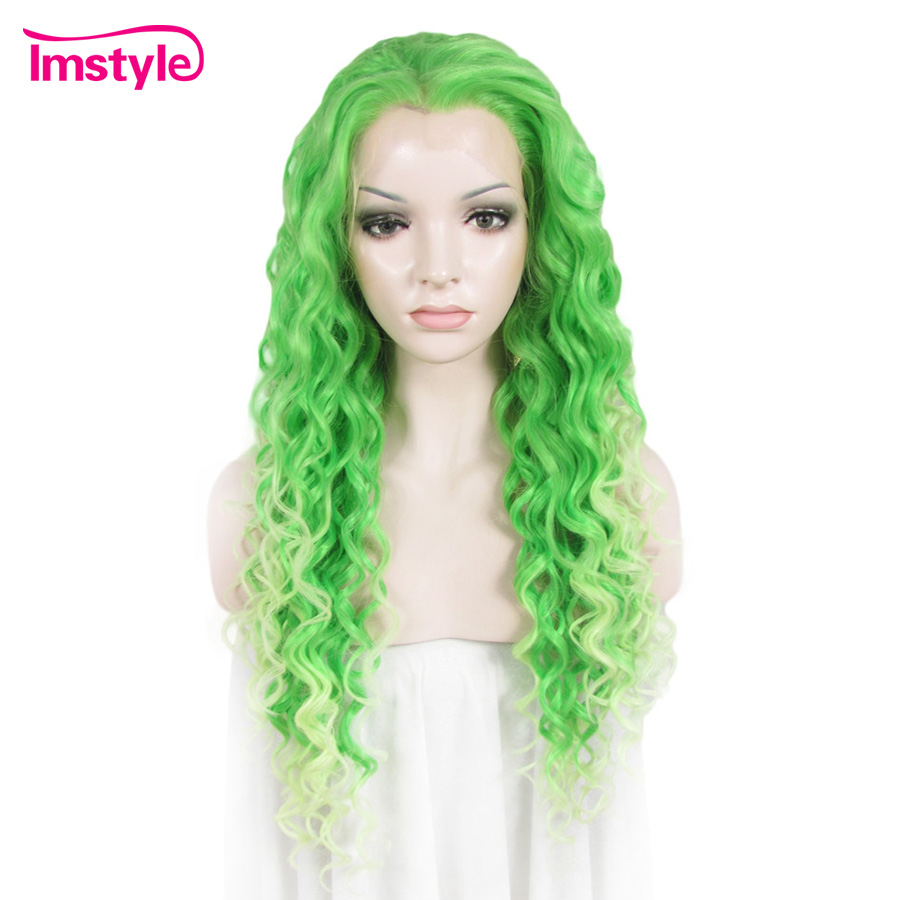 Imstyle Teal Green Ombre Wigs Synthetic Lace Front Wig Long Loose Wave Wigs For Women Heat
