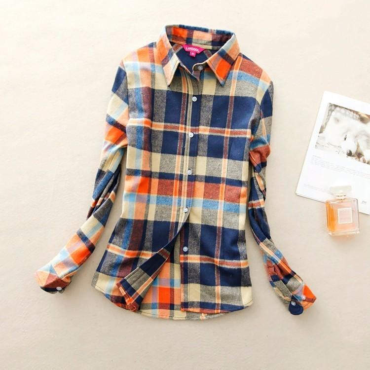 2017 hot sprzedaż jesień zima panie kobieta casual cotton lapel bluzka bluzki z długim rękawem kratę koszula kobiet szczupła odzieży wierzchniej clothing 9