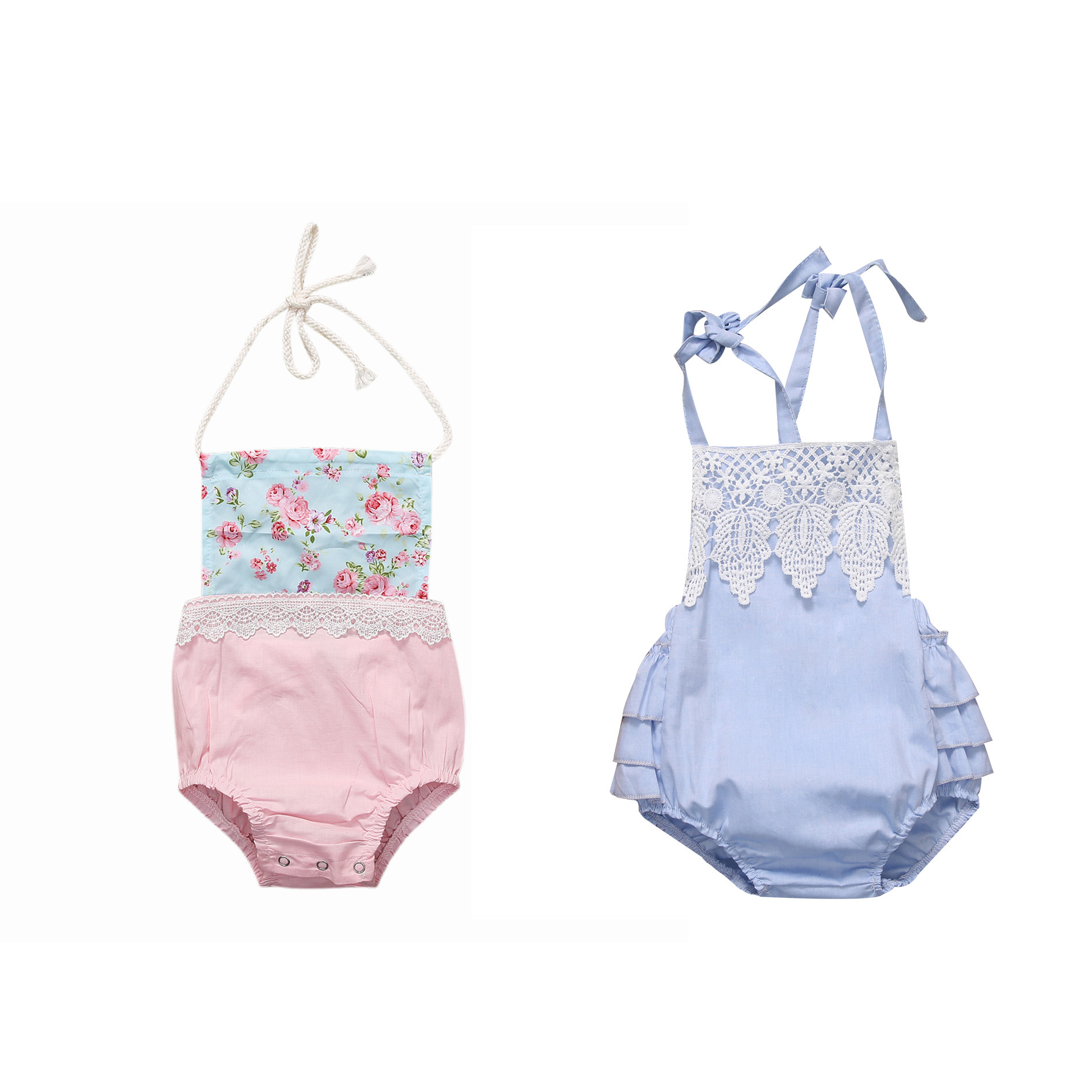 Newborn Infant Baby Girl Clothes Strap Lace Floral Romper Jumpsuit Outfit Summer Cotton Backless One-Pieces Outfit Baby Onesie newborn infant baby clothes girl floral strap lace romper jumpsuit playsuit outfit cute summer baby romper onesie