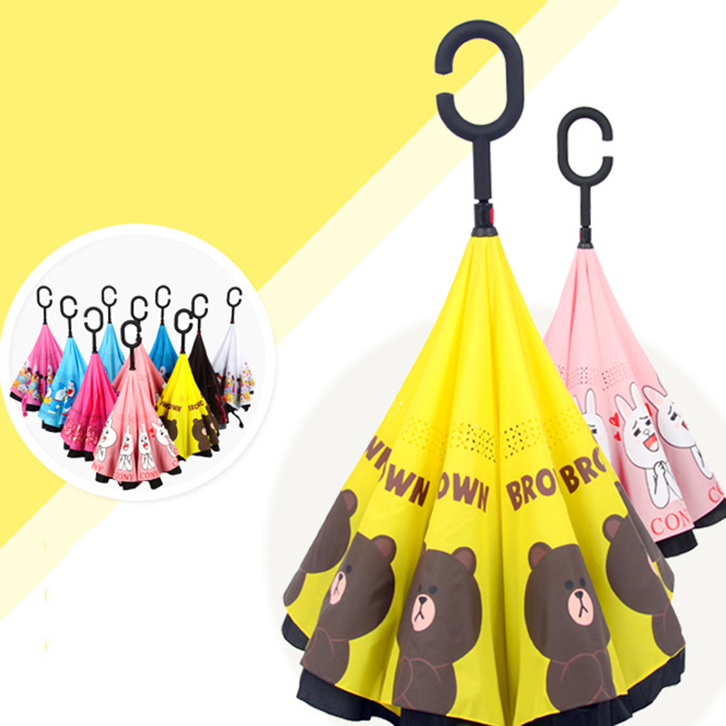 Cartoon Hello Kitty Inverted Umbrella Double Layer Sun Parasol Women Rain Reverse Umbrellas C Handle Windproof Umbrella 0F5