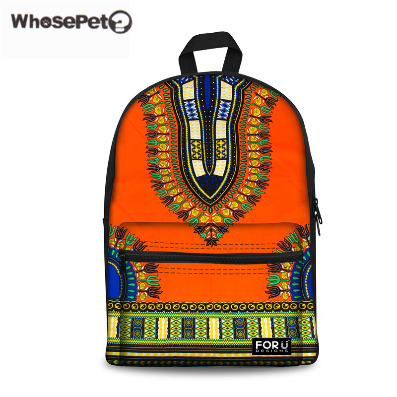 WHOSEPET Children African Schoolbag Printing Women School Backpacks For Kids Girls Teenager Book Shoulder Bag Tribal Ethnic Pack