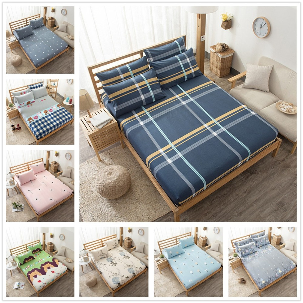 Nordic Style Printed Pure Cotton No-slip Plaid Bedspread Bed Sheet Fitted Sheet Bed Spread Mattress Cover Protector for Bed Twin