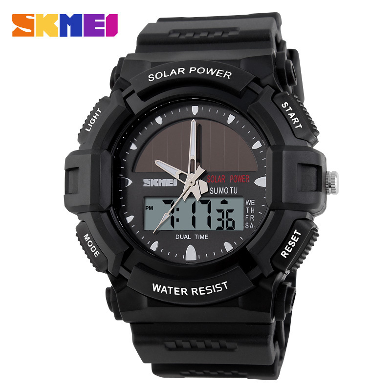 b8294f931ce Novo 2017 SKMEI Marca Assista Moda Masculina Sports Relógios de Quartzo  Digital de Energia Solar Relógio Ao Ar Livre Relógios De Pulso Militar 1050