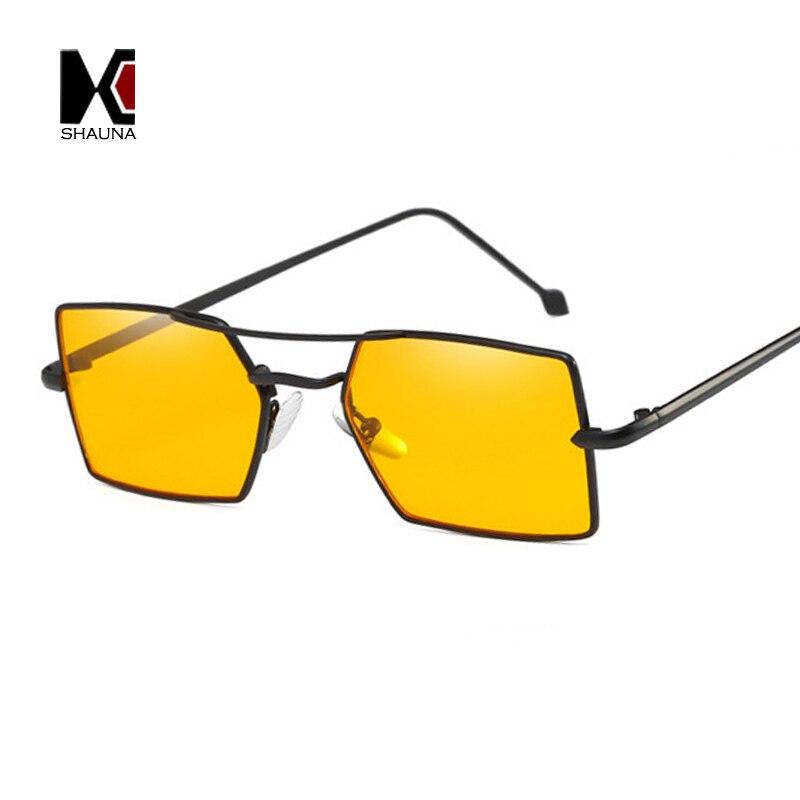 SHAUNA Fashion Women Square Sunglasses Double Bridges Vintage Men Clear Yellow Lens Shades UV400