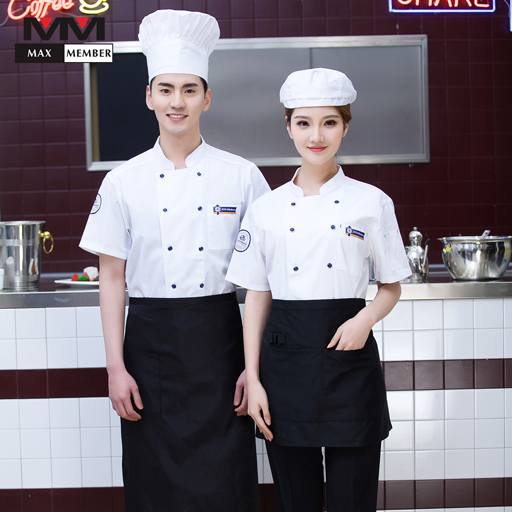 2018 New Unisex Kitchen BBQ Cooking Workwear Tops Summer Short-sleeved Restaurant Hotel Coffee Shop Chef Jackets Uniforms Aprons