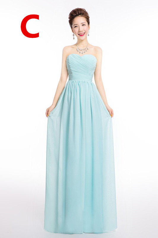 Icy Blue Winter Bridesmaid Dress Formal Long Chiffon Lace Up Wedding