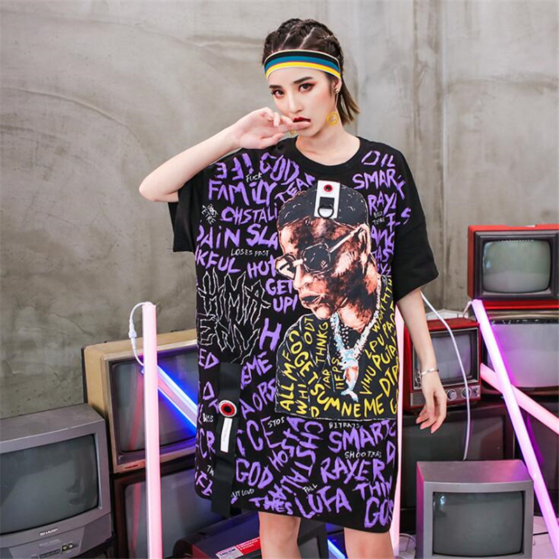 2018 hip-hop rock style lâche taille été femmes robe lettre Graffiti imprimé coton robes Streetwear droite T-shirt robe