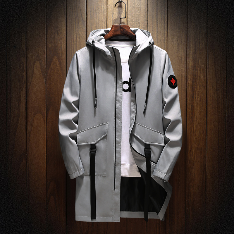 Men's Autumn Jacket Windbreakers Long Trench Casual Smil Fit Coat Letters Printed Streetwear Hip Hop Jackets;YA057