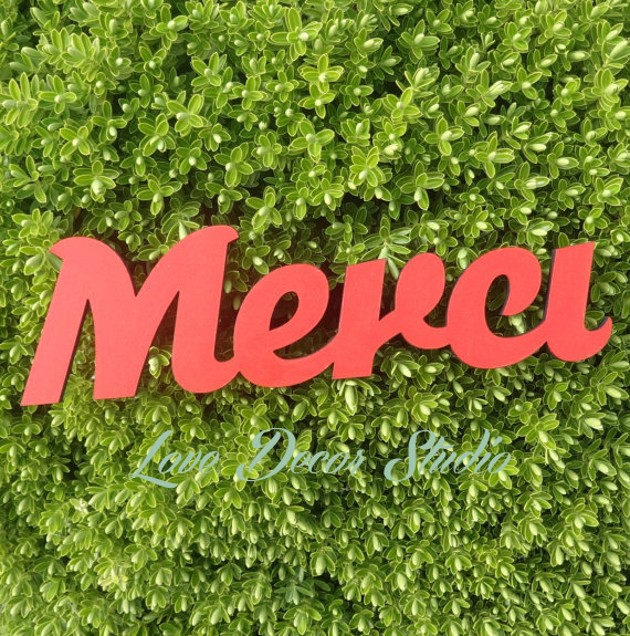 Handpainted French Merci Wooden pvc Sign wedding decoration letters size 13 x 4 x 1/2