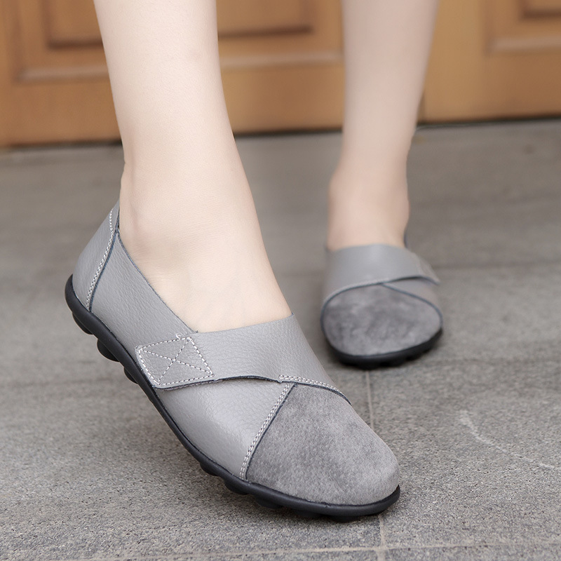 New autumn shoes woman wild   suede   soft bottom large size 2019 Genuine   Leather   ladies flats Hand-sewn Cowhide loafers
