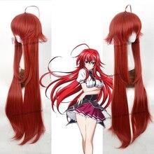 DxD Peluca de Cosplay resistente al calor rojo vino de 100cm de largo, peluca de pelo para Cosplay, gorro de peluca gratis, Rias Gremory de escuela secundaria