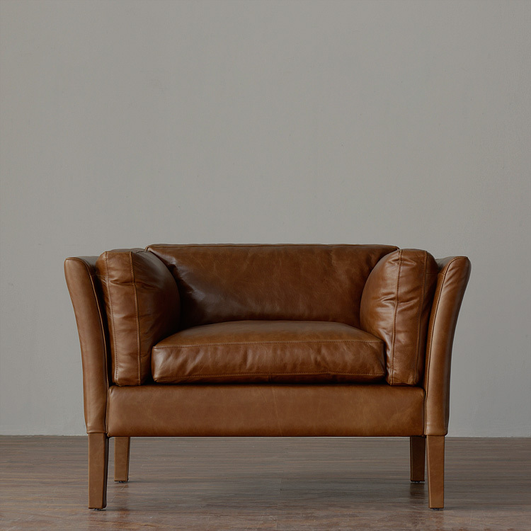 Pre / 10% Thanksgiving / American Country / Retro / Import Full Leather / SORENSEN  Sofa / 3 / Single / Person / Brown In Hotel Sofas From Furniture On ...