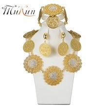 MUKUN Fashion Dubai gold-color big jewelry set Bridal Nigeria African beads Necklace Bangle Earring wedding