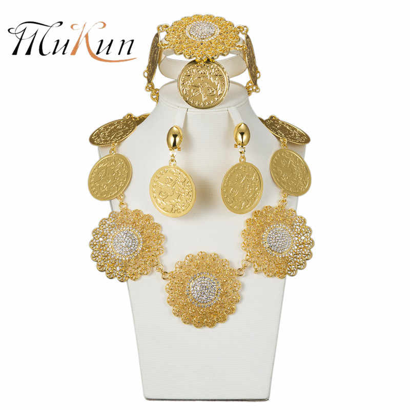 MUKUN moda dubaj złoty kolor duży zestaw biżuterii dla nowożeńców ślubne nigerii afryki koraliki biżuteria naszyjnik bransoletka kolczyk zestaw biżuterii ślubnej