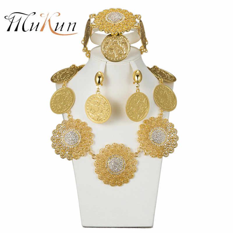 MUKUN ファッションドバイゴールド色のビッグジュエリーセットブライダルナイジェリアアフリカビーズジュエリーネックレスバングルイヤリングウェディングジュエリーセット