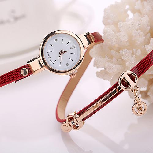 Women Long Slim Faux Leather Strap Wristwatch Rhinestone Quartz Wrist Watch New