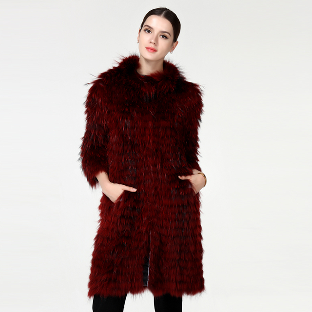 Long style real fox fur coat mandarin collar full pelt fur with striped silver fox fur coat fashion and slim new style winter.