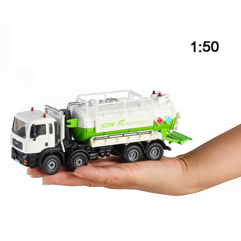 KDW 1:50 Diecast liga de Coleta de Veículo de Engenharia Caminhão de Transporte de Águas Residuais Simulaion Tanque de Armazenamento De Água Crianças Brinquedos de Lixo