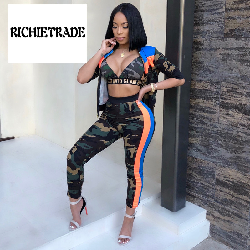 Women's Clothing Richietrade Sexy Woman Three Pieces Suit Camouflage V Neck Underwaist Jackets Short Pants Firm In Structure