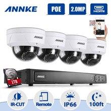 Annke 8CH 2.0MP 1080 P H.264 + NVR POE IP-сети WDR видеонаблюдения Камера Системы 1080 P комплект видеонаблюдения 1 ТБ HDD