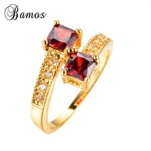 Top Quality Red 2 Natural stones rings for beauty women Gold Filled Jewelry Engagement/Wedding Charming rings RY0118(China)
