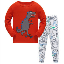 Childrens Spring Autumn tracksuit suit pants+t shirt long sleeve yellow boys pajamas suits Cotton Pijamas Kids Sleepwear